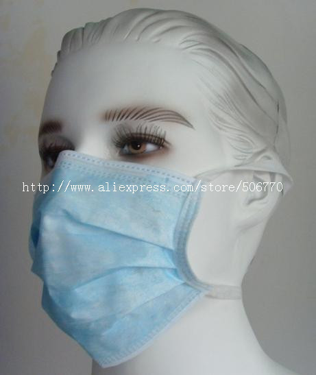 250pcs/lot WHOLESALE Disposable 3ply nonwoven face mask with ties-on(China (Mainland))