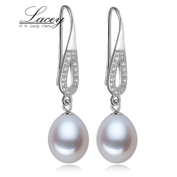 Real freshwater drop earrings for women bridal gift,white wedding natural pearl earring 925 silver trendy brincos perolas prata