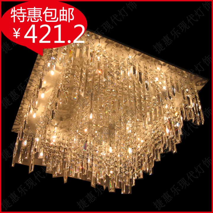 Modern crystal lamp low pressure flat plate brief ceiling light living room lights bedroom lamp square circle crystal lamp(China (Mainland))