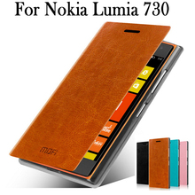 For Nokia Lumia 730 Case,Flip Leather Case For Nokia Lumia 735 Cover Phone Bag Luxury Leather Case For Nokia 730 Free Shipping(China (Mainland))