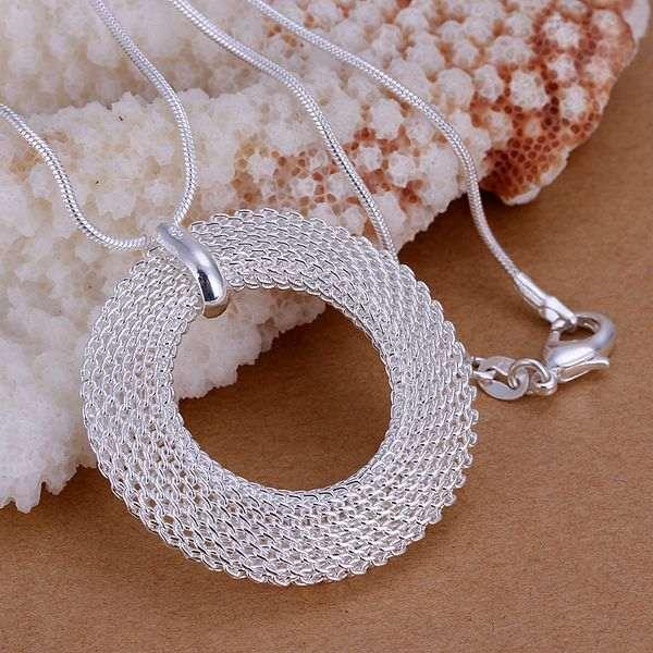 925 sterling silver necklace Fashion Jewelry Chains Necklace 925 Silver Pendant Network Circle Pendant Men Women Chains P054(China (Mainland))
