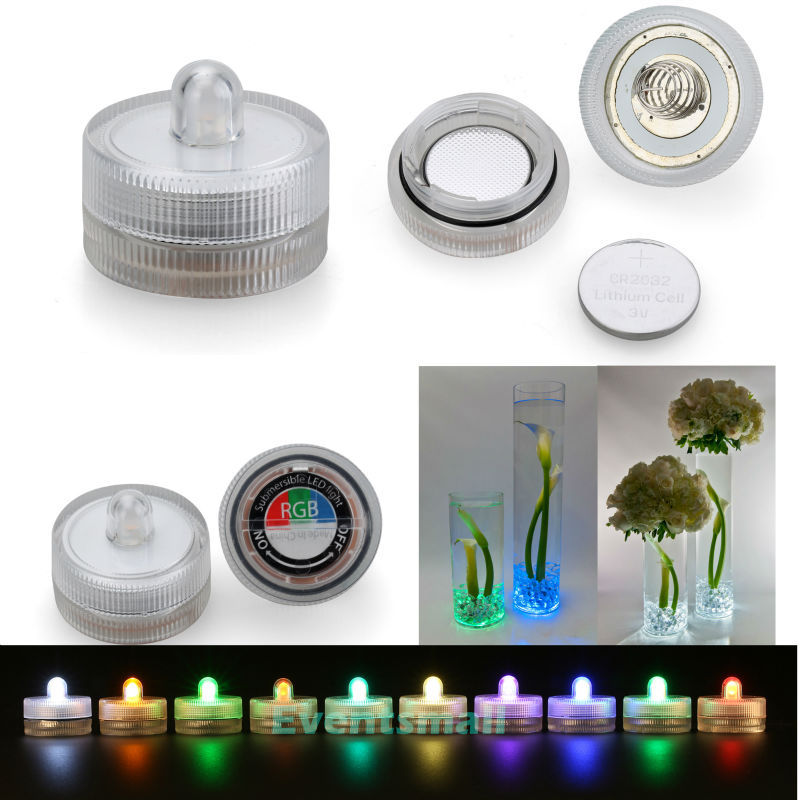 100pcs/Pack 11 Colors Decor Small Battery Operated Single led Lights  Submersible Waterproof Candles For