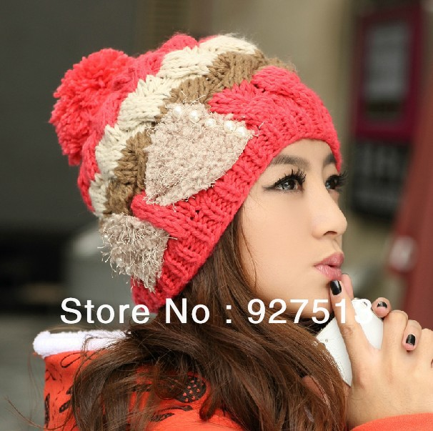 Korean winter color patchwork girls Knitting Wool Warm Hat Women bowknot Knitted Hat,fashion Beret bow pearl beanies women - Sky Trade Co., Ltd. store
