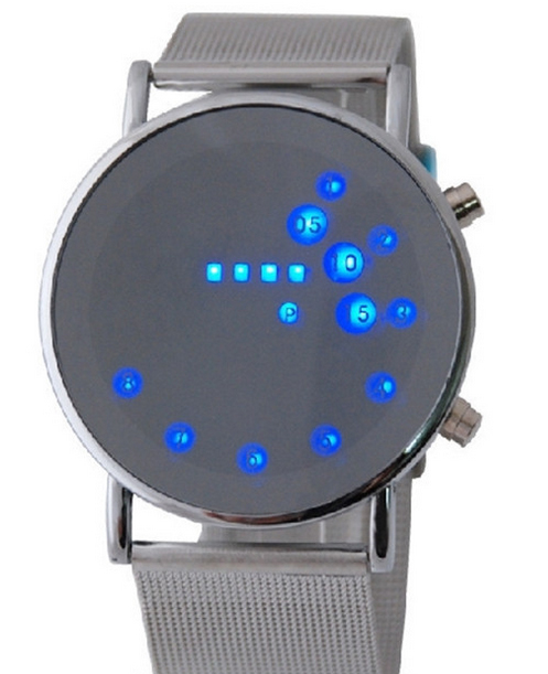 Fashion Cool MEN Clock Watch Iron Man Blue LED Watches Luxury Stainless Steel Binary Bracelets Bangles
