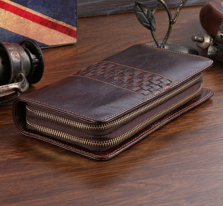 2015 Vintage 100 Guaranteed First Layer Genuine Leather Men Clutch Bag Wallets Fashion Purse Card Holder