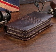 2015 Vintage 100% Guaranteed First Layer Genuine Leather Men Clutch Bag Wallets Fashion Purse Card Holder for Men #VP-8021