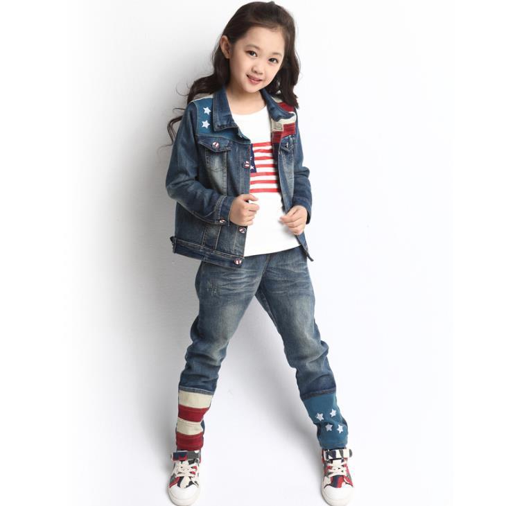 2015 spring boys&amp;girls clothing set jean children suit sets for autumn fashion Children clothing 3pcs set coat+shirts+trousers<br><br>Aliexpress