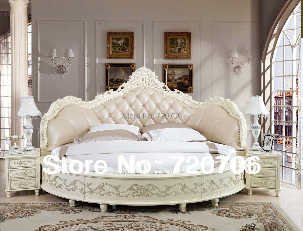 2014 new design round luxury leather bed sofa bed soft bed mini order