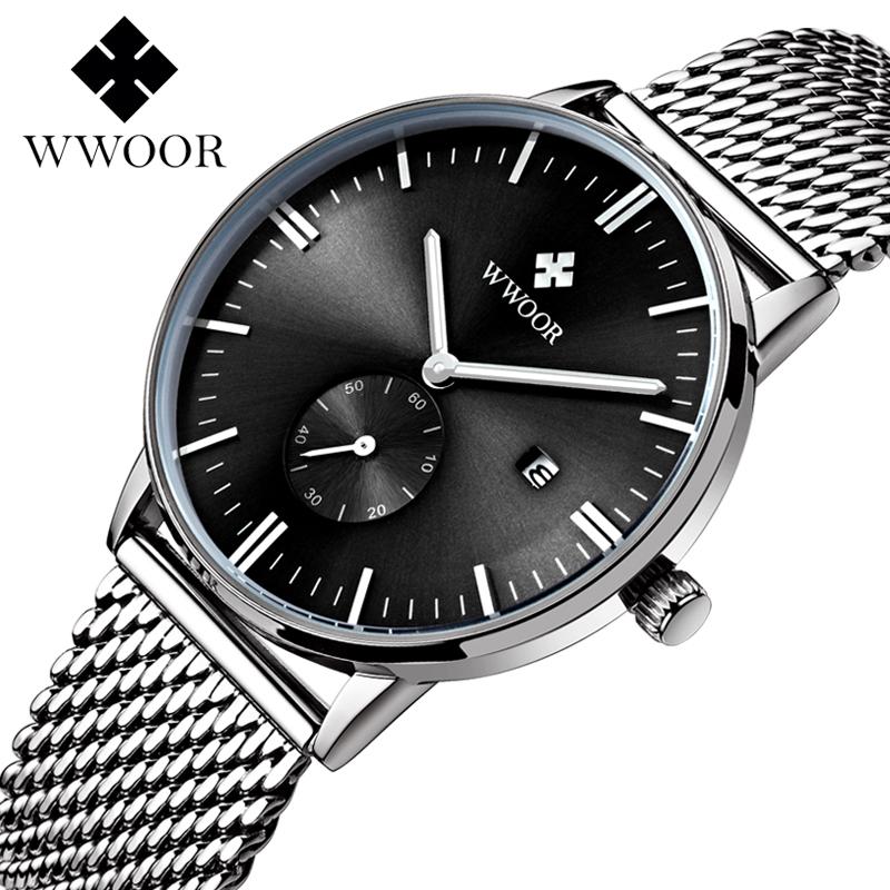 Fashion simple stylish Top Luxury brand WWOOR Watches men Stainless Steel Mesh strap band Waterproof Quartz-watch thin Dial(China (Mainland))