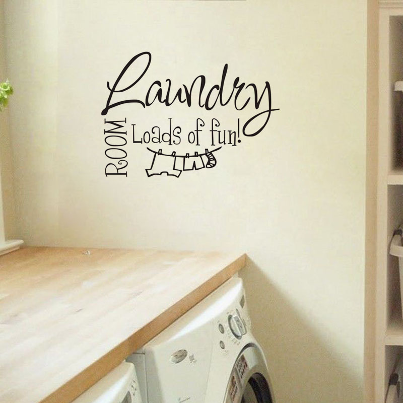 DCTOP Laundry Room Loads of fun wall art decals quote house decorative sticker Decor Cursive Cute for living room(China (Mainland))