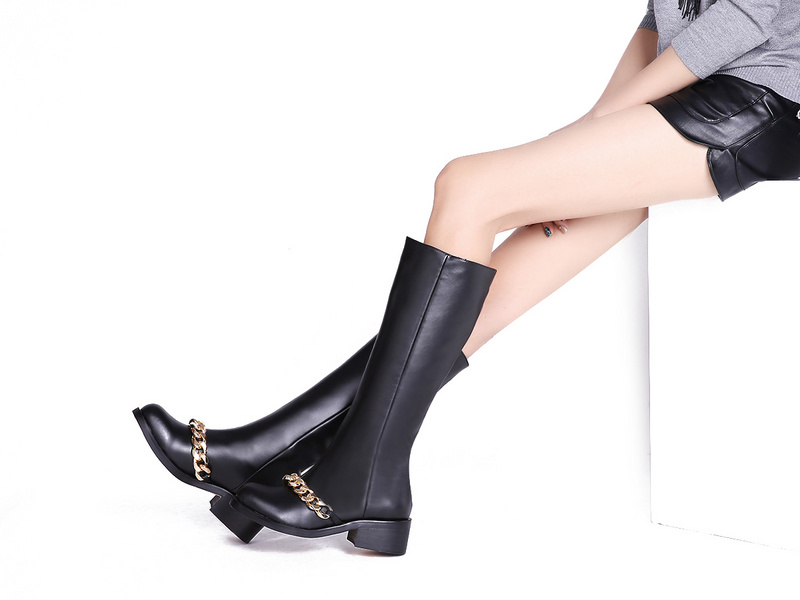 Ladies Fashion Brand Black Chains Knee Boots Women's Genuine Leather Platform Winter Knee  High Thigh Low Thick Heel  Boots