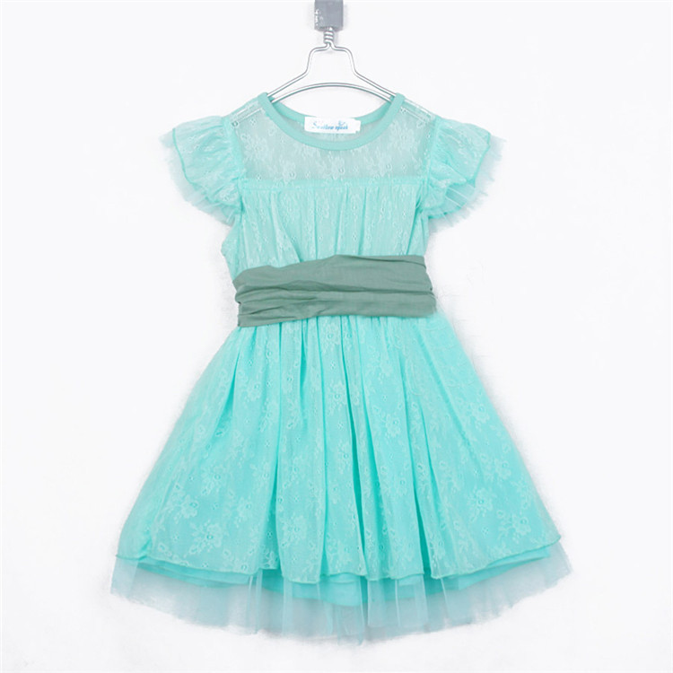 2015 summer dream paragraph lace girls princess clothing baby child butterfly sleeve girl dress party dress wedding dress A0822(China (Mainland))