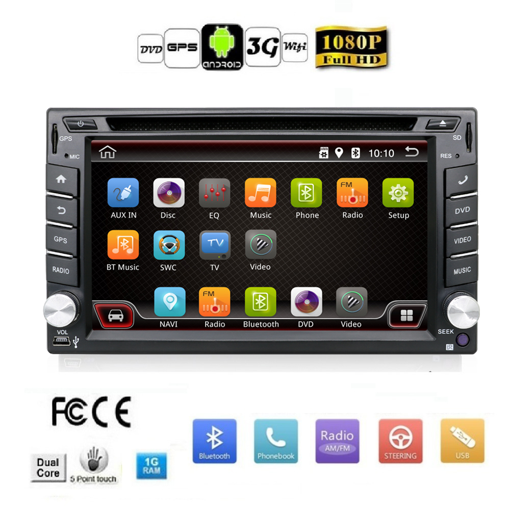 Auto map 2 Din Pure Android 4.4 Car DVD Player Navigation Stereo Radio GPS WiFi 3G CAPACITIVE Touch Screen USB Camera Car PC TV(China (Mainland))
