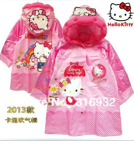 Free Shipping Cute Hello Kitty PVC Rain Coat for Kids, 1pc raincoat(China (Mainland))