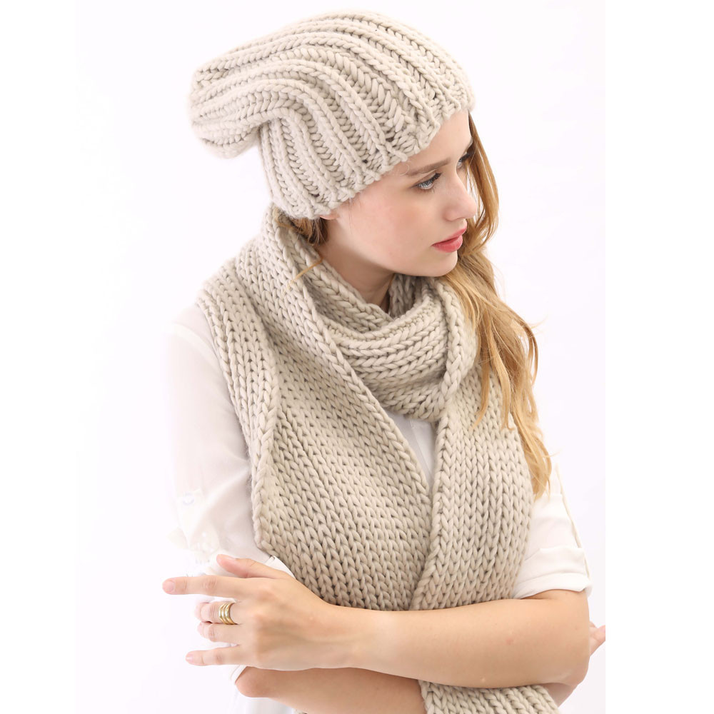 2015 Hot Sale And High Quality Grey Color Knitted Long Thick Warm England Style Womens Hat And Scarf Set For Winter Autumn(China (Mainland))