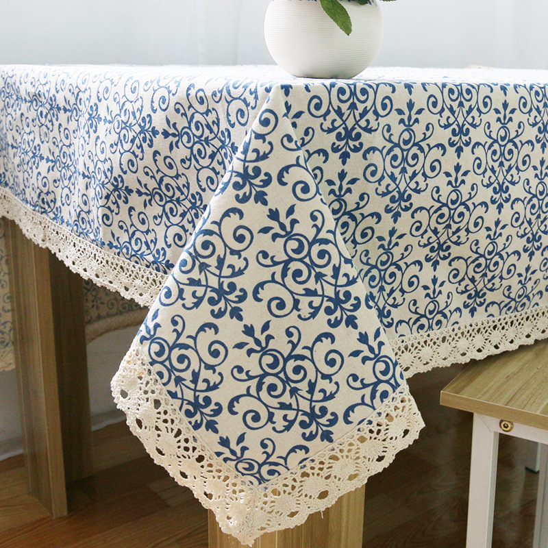 Vintage Linen Lace Tablecloths Rectangular Blue-and-White porcelain Printing Cover Table Cloths nappe tovaglia toalha de mesa(China (Mainland))