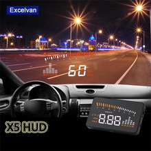 "X5 3"" Universal Auto Car HUD Head Up Display X3 Overspeed Warning Windshield Project Alarm System Consumption OBD2 II Interface(China (Mainland))"