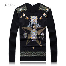2016 Spring New Mens Sweaters Skulls Design Fashion Brand Clothing Silk Sweater For Men Vetement Homme Pullover Men XXXL(China (Mainland))