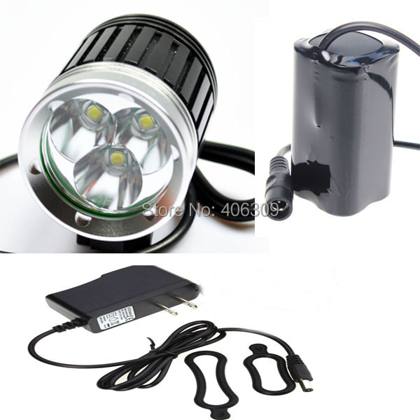 Super deal 3600LM 3*Cree XM-L T6 U2 LED Bicycle Bike light HeadlampHeadlight kit 4 Modes,rechargable 4*18650 Battery Pack