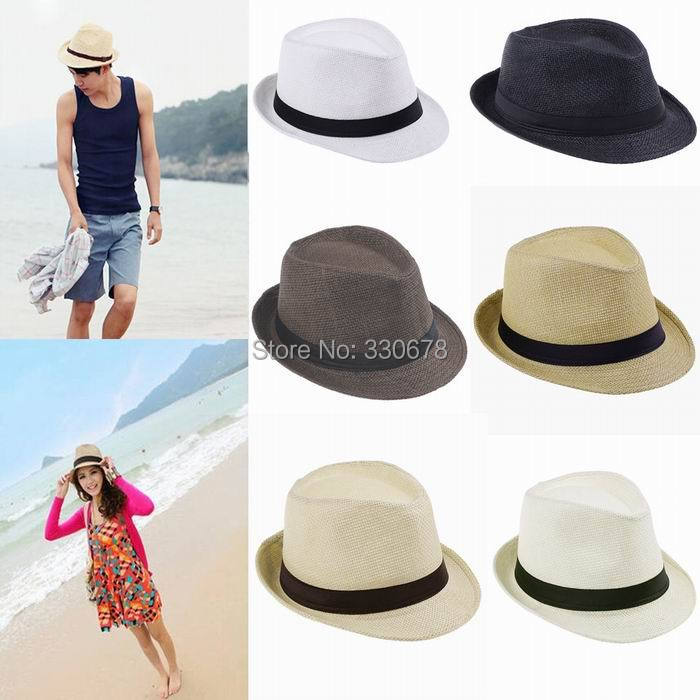 Fashion Womens Men Fedora Trilby Gangster Cap Summer Beach Sun Straw Panama Hat with Ribbow Band Sunhat(China (Mainland))
