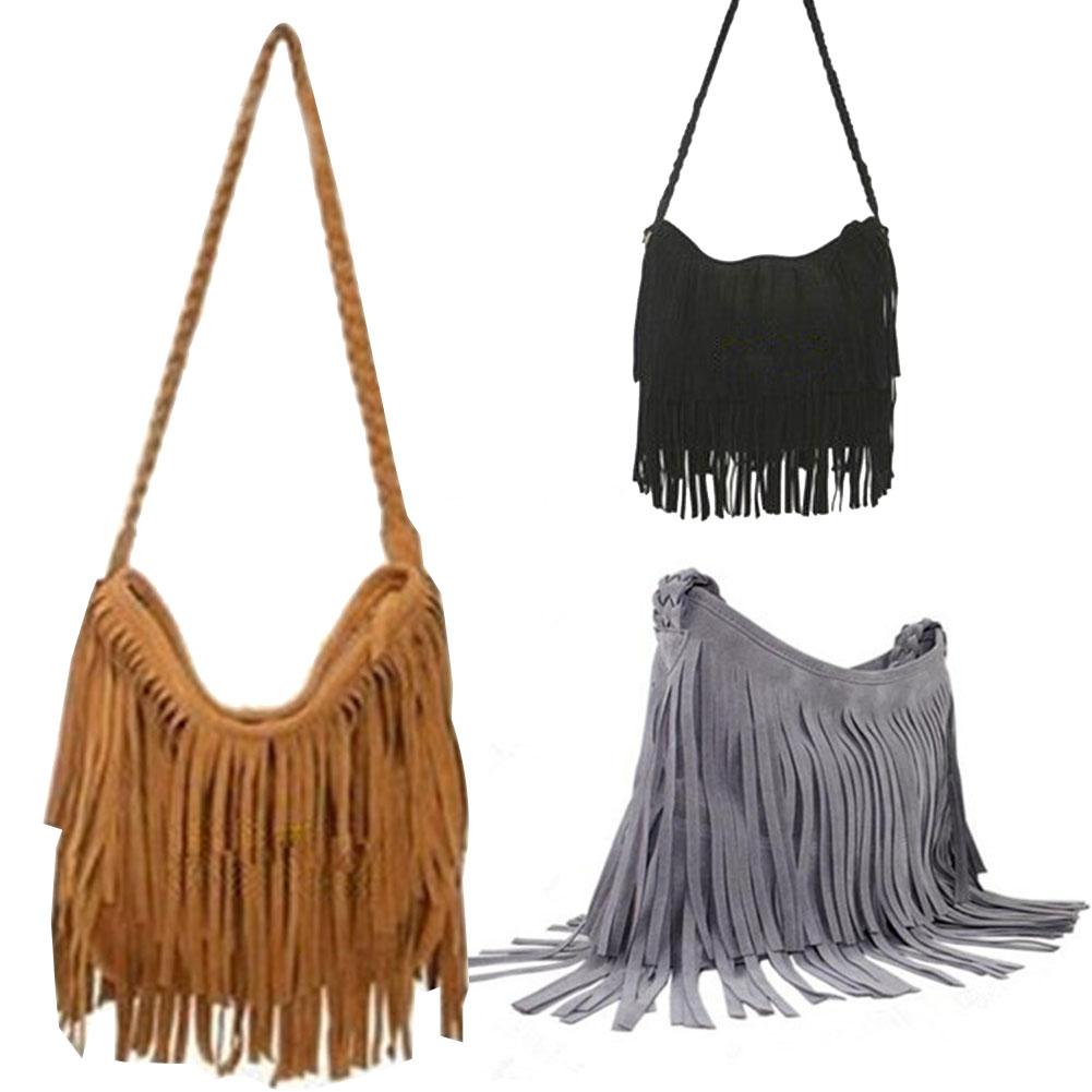 Fashion Women's Suede Weave Tassel Shoulder Bag Messenger Bag Fringe Handbags BS88(China (Mainland))
