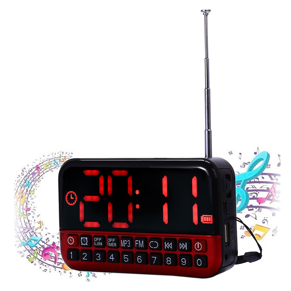 2016 Multifunction Alarm Clock Large LED Display Portable Digital MP3 Player Speaker Antenna FM Radio Receiver Desk Clock(China (Mainland))