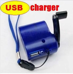 Universal USB hand dynamo charger Adapter Emergency Portable mobile power bank EU Creative fun car phone MP3 for outdoor Travel(China (Mainland))