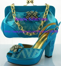 free shipping african Fashion matching shoes and bag set EVS347 turquoise blue size 38 to 42 heel 4 inch retail/wholesale(China (Mainland))