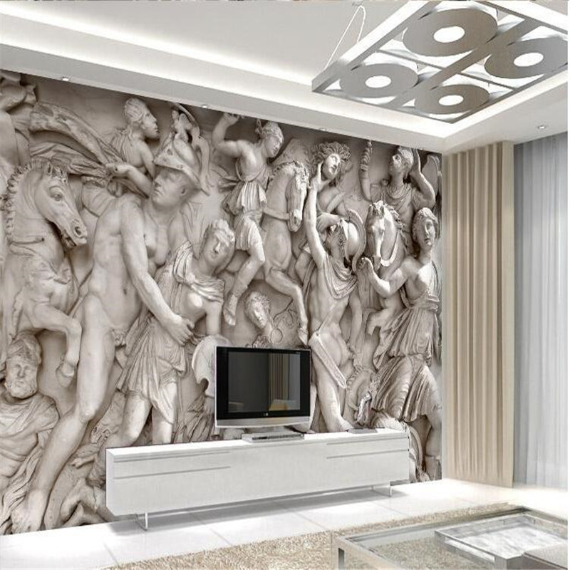 Custom photo wallpaper 3d european roman statues art for Antique wallpaper mural