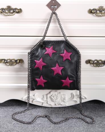 DHL shipping! 3 color Mini Size Women's CROSS BODY 3 Silver Chains Star Handbags Shoulder bag , Measurements: 16 x 18 x 7cm(China (Mainland))