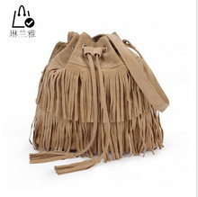 LINLANYA Women Suede Drawstring Bucket Bag Women vintage Handbag Faux Fringe Tassel Shoulder bags lady Messenger Bag WHC7521(China (Mainland))