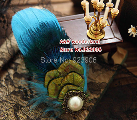 turquoise Feather Headpiece bride Fascinator Bridesmaids Fascinator peacock hair clip feather in stock(China (Mainland))