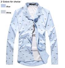 New 2015 Spring Autumn Men's Cotton Casual Long Sleeve Crocodile Print Shirt European & US Standard(China (Mainland))