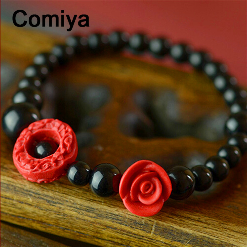 Comiya lacquer carving rose flower plants pendants cc bracelet handmade ethnic jewelry black beads bracelets for women(China (Mainland))