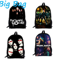 New Design My Chemical Romance Kids School Bag with Zipper Backpack Child Casual Bags,Imagine Dragons Band Boys School Backpacks(China (Mainland))