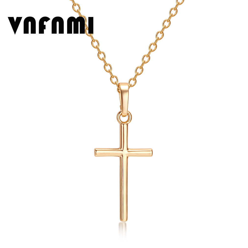 Cross Necklace Women/Men Jewelry Wholesale Trendy 2Color Silver Plated/18K Real Gold Plated Cross Pendant Necklace Pendant Women(China (Mainland))
