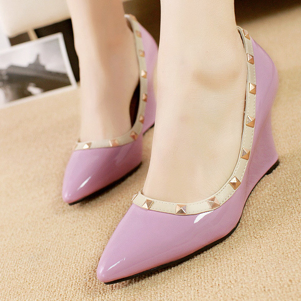 V riveting pointed high heel shoes Orange shoes wedges shoes asakuchi sweet beauty mixed colors