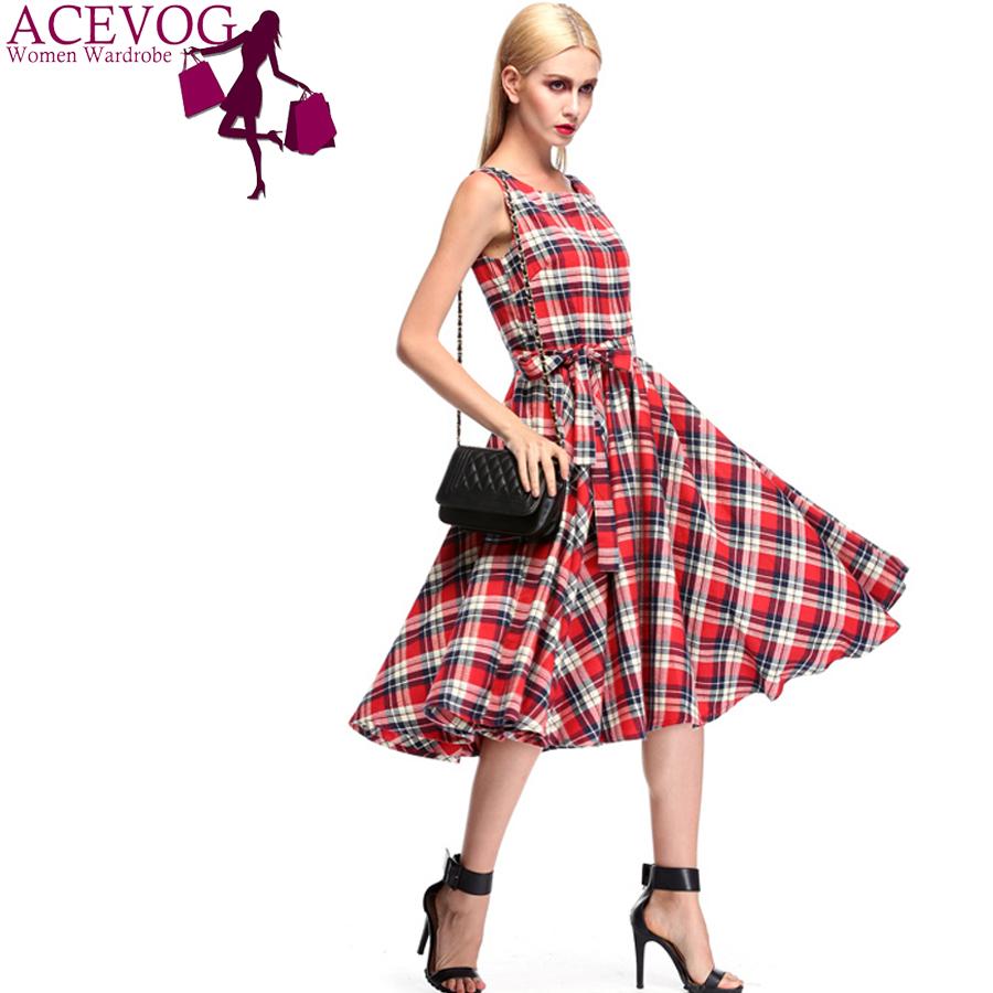 Aliexpress.com  Buy ACEVOG Brand Women Vintage Plaid Dress Summer Retro Style Sexy Sleeveless ...