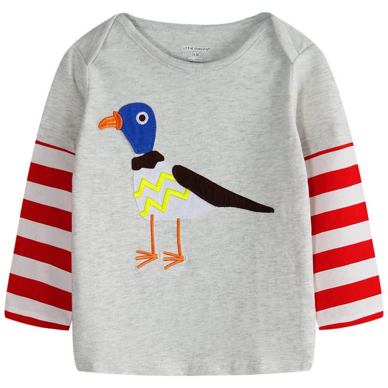 New Cartoon Creeper Children T Shirts Fit 2015 Summer Boys Kids long Sleeve Tees Cotton Baby Clothing Girls And Boys' T-Shirt(China (Mainland))