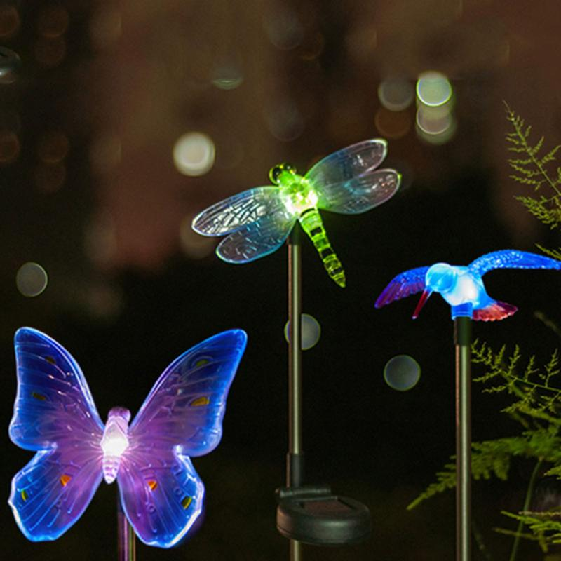 Hot Solar LED Path Light Cartoon Animal Outdoor Garden Lawn Landscape Plastic Lamp Light Drangonfly/Butterfly/Bird for Choose(China (Mainland))