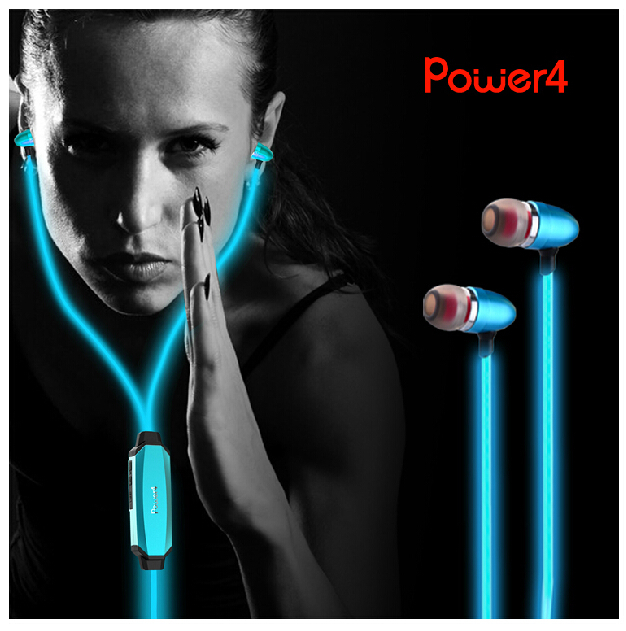 100% original Power4 EP001 LED Luminous Earphone Visible EL Flowing light earphone with mic for phone call has gift package<br>