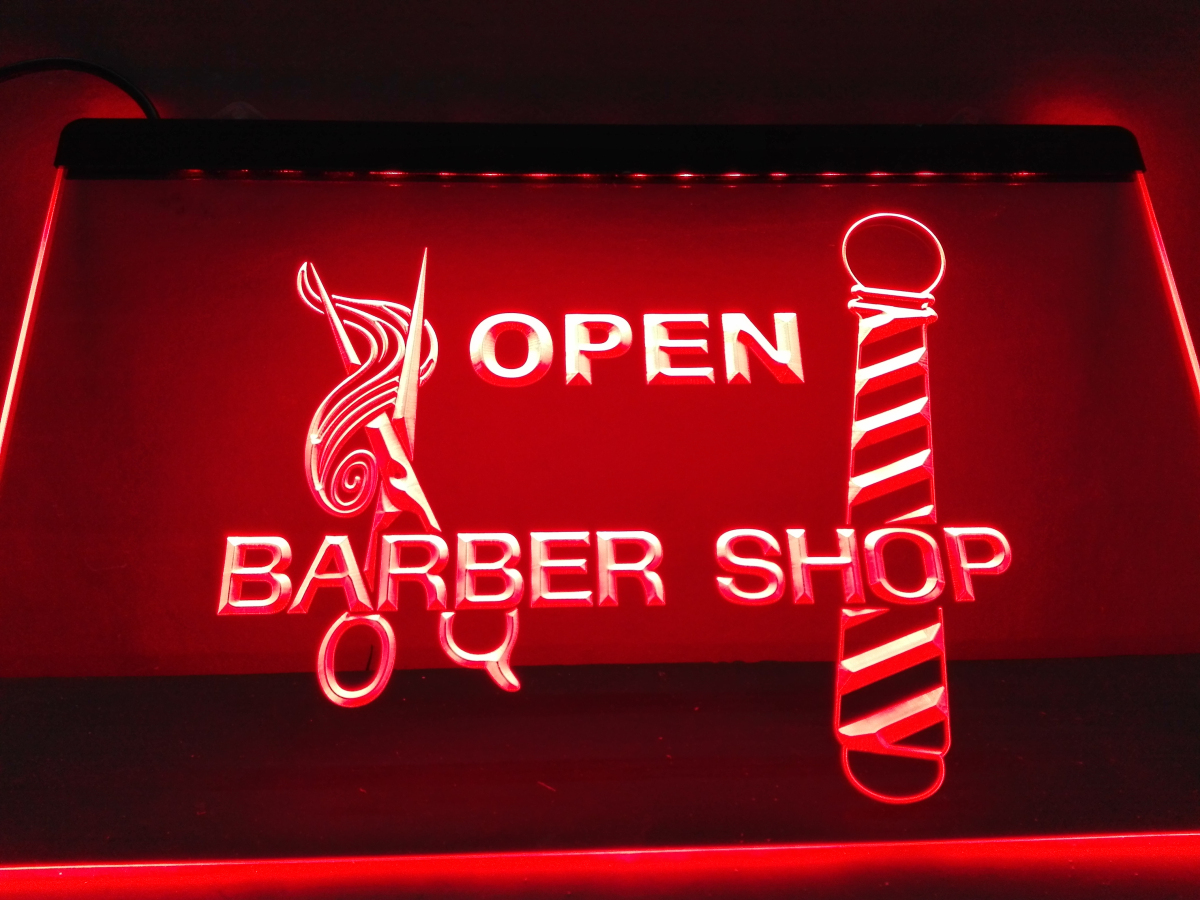 LB006- OPEN Barber Pole Scissor LED Neon Light Sign home decor crafts(China (Mainland))