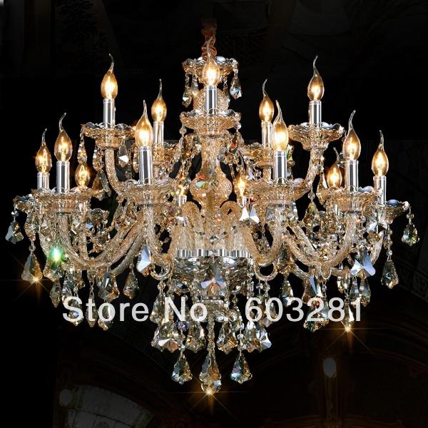 15 Light Crystal Chandelier 001 ,Golden teak / Pellucid +  -  AUTUMN LIGHTING FACTORY store