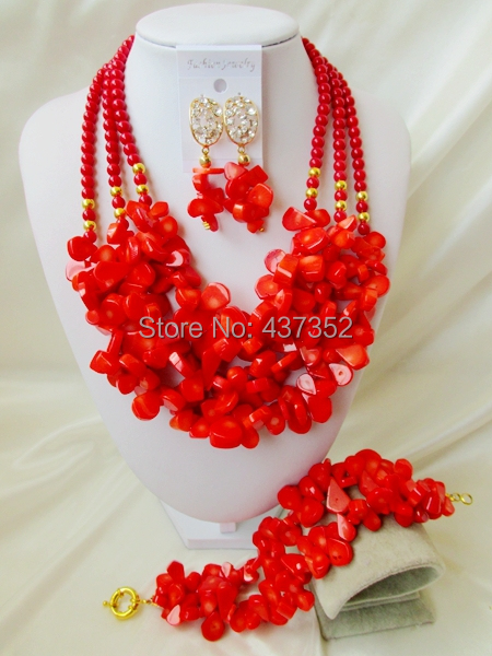 Gorgeous! Coral Beads Jewelry Set Costume Necklaces Nigerian Wedding African Beads Jewelry Set TC134<br><br>Aliexpress