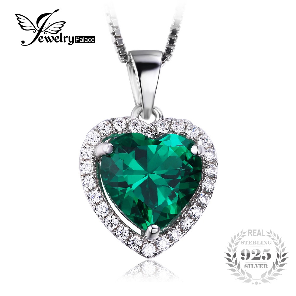 JewelryPalace Heart Of Ocean 2.4ct Green Russian Nano Created Emerald Love Forever Halo Pendant Pure 925 Sterling Silver Jewelry(China (Mainland))