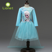 Christmas Party Role-play Cute Girls Clothes Elsa Anna Princess Girls Dress Snow Queen Kids Dresses for Girl Free Shipping