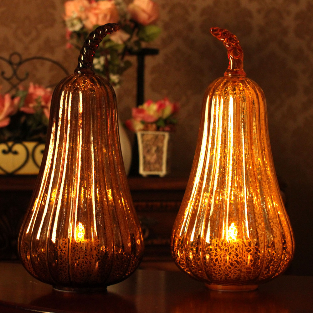 Home Impressions Harvest Glass Gourd Led Light Lantern with Timer,Autumn style,Home Decorations(China (Mainland))