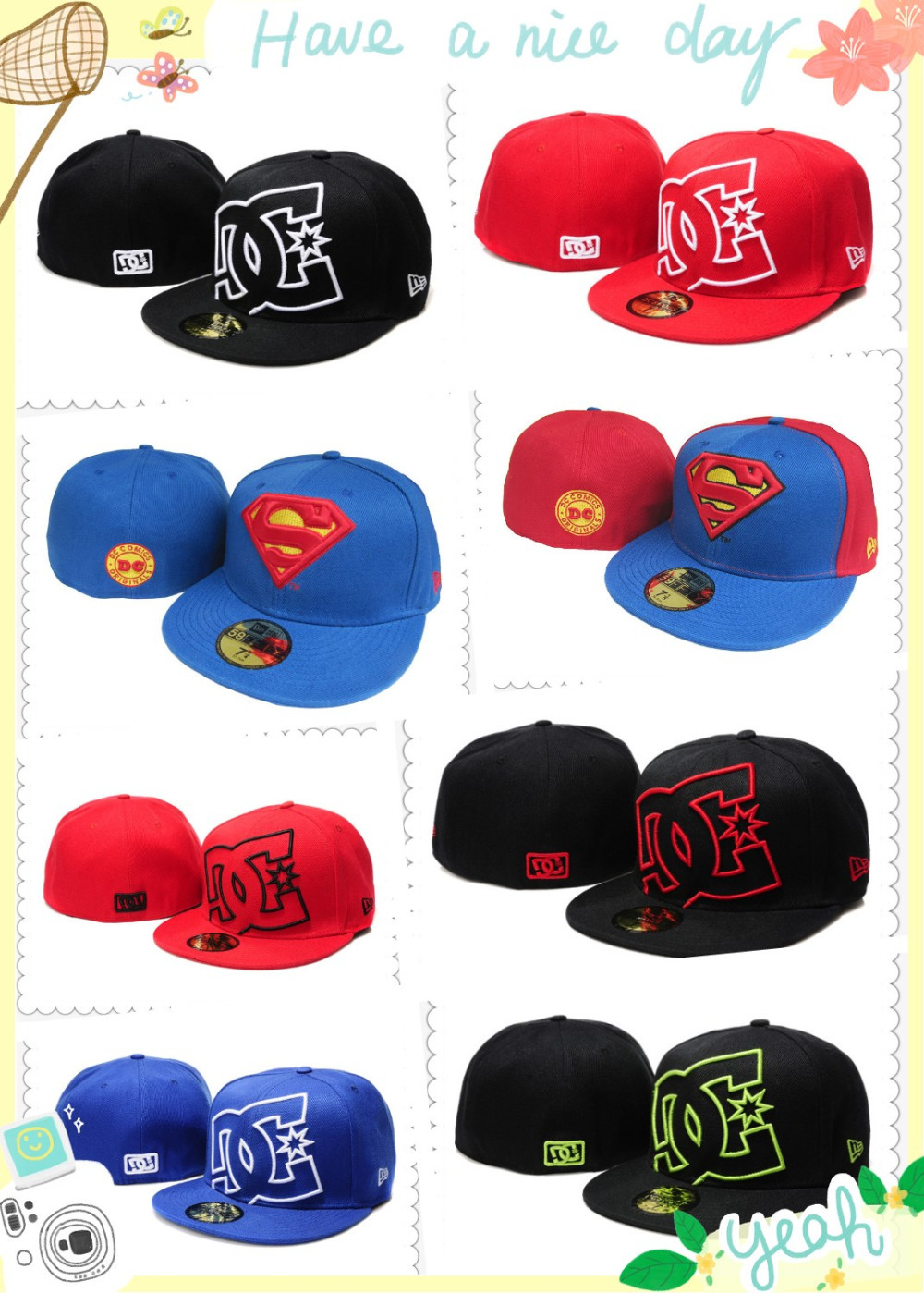 Free shipping! Wholesale Top Quality Original fitted gorras dc hats brand design gorras planas hip hop cap for men and women(China (Mainland))