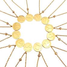 Free Shipping Mystica Steel Horoscope Dainty Libra Astrology Golden Zodiac Pendant Necklace