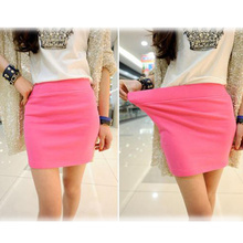 Fashion Women Ladies Sexy Summer Package Hip Pencil Skirt Seamless Elastic Pleated High Waist Slim Mini Skirts For Office Party(China (Mainland))